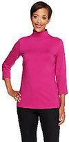 Denim & Co. Perfect Jersey 3/4 Sleeve Mock Neck Top