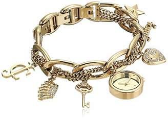 Juicy Couture Black Label Women's JC/1040GPCH Swarovski Crystal Accented -Tone Charm Bracelet Watch