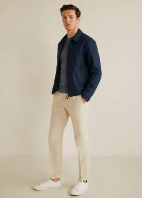 MANGO MAN - Zipper linen cotton jacket dark navy - L - Men
