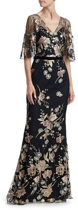 Marchesa Floral Embroidery Cape-Sleeve Gown
