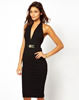 Asos Exclusive Halter Dress With Deep V Neckline
