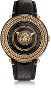 Versace V-Metal Icon Black and Rose Gold Unisex Watch w/Medusa Medal