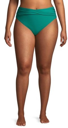 Time and Tru Women's Plus Size V-Wire Green Ocean Swimsuit Bottom