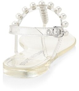 Stuart Weitzman Goldie Embellished Jelly Thong Sandals