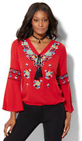 New York & Co. 7th Avenue - Embroidered Peasant Blouse