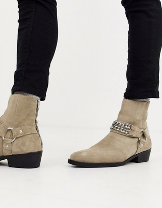 Asos DESIGN stacked heel western chelsea boots in stone suede with buckle and chain detail