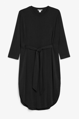 Monki Super-soft waist tie dress