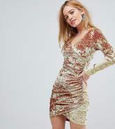 Flounce London Petite Wrap Ruched Mini Dress In Electric Velvet