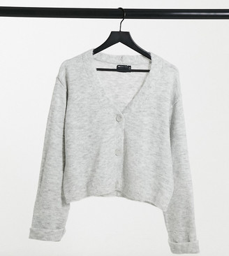 Asos Tall ASOS DESIGN Tall boxy cardigan with turn back cuffs in gray