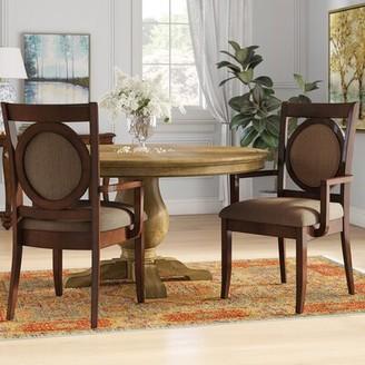 Hokku Designs Regan King Louis Back Arm Chair in Beige