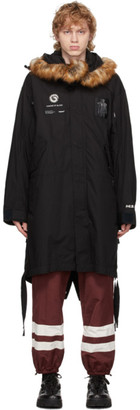 Undercover Black Fur Lined Throne of Blood Parka
