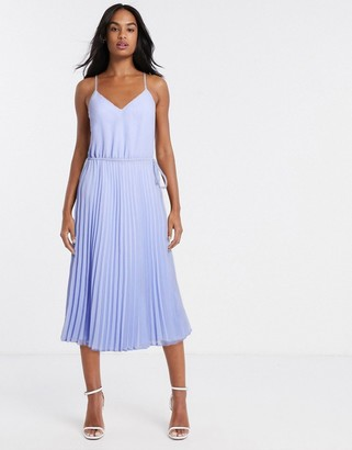ASOS DESIGN pleated cami midi dress with drawstring waist in cornflower blue