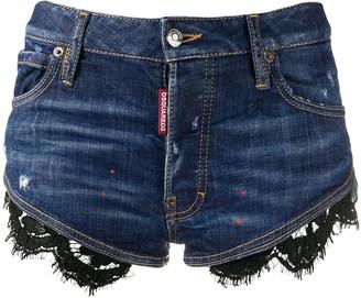 DSQUARED2 Lace Hem Denim Shorts