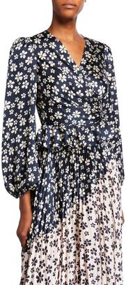 Jill Stuart Marianne Floral Ruched Blouson-Sleeve Peplum Blouse