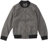 Urban Republic Dark Charcoal Faux Leather Bomber Jacket - Boys