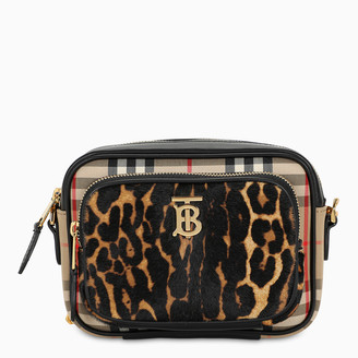 Burberry Vintage Check and leopard print camera bag