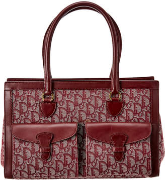Christian Dior Burgundy Trotter Canvas Tote