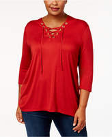 Belldini Plus Size Hooded Lace-Up Top