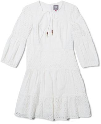 Vince Camuto Eyelet Long-sleeve Dress
