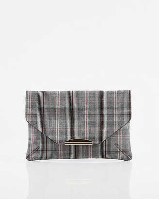 Le Château Check Print Faux Suede Crossbody Bag