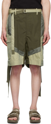 Sacai Khaki Cotton-Blend Shorts