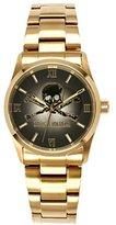 Zadig & Voltaire ZV 001/1AM Rock Unisex Analogue Quartz Watch - Black Dial - Gold Plated Steel Strap