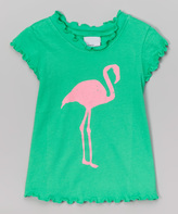 Flap Happy Flamingo Fun Lettuce-Edge Tee - Toddler & Girls