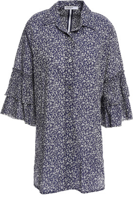 Stateside Ruffle-trimmed Floral-print Cotton Shirt