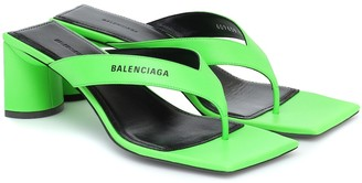 Balenciaga Double Square leather thong sandals