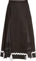 Toga Ribbon-trimmed bonded-linen skirt