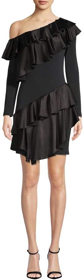 Alice + Olivia Women's Izzy One Shoulder Ruffle Dress