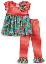 Bonnie Jean Baby Girls 12-24 Months Striped Knit to Floral Chiffon Dress and Striped Leggings Set