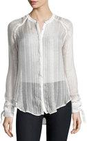 Romeo & Juliet Couture Metallic-Stripe Tie-Cuff Chiffon Shirt, Ivory