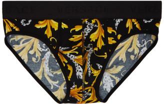 Versace Underwear Black and Gold Barocco Briefs