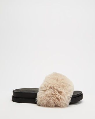 Dazie - Women's Brown Flat Sandals - Jada Fluffy Slides - Size 5 at The Iconic
