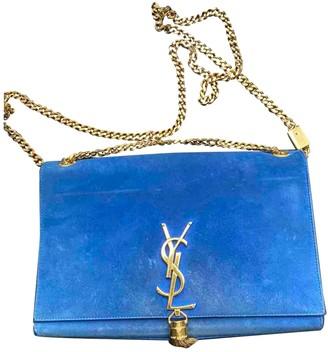 Saint Laurent Pompom Kate Blue Suede Handbags