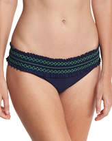 Tory Burch Costa Embroidered Hipster Swim Bottom, Blue/Green