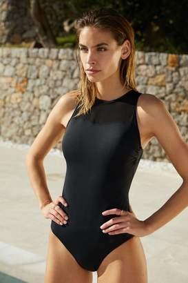 Mint Velvet Womens High Neck Mesh Panel Swimsuit - Black