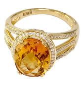 EFFY 14Kt. Yellow Gold Citrine Ring with Diamonds