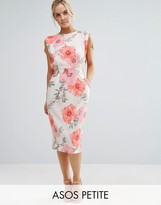 Asos Belted Dress with Split Cap Sleeve and Pencil Skirt in Floral Print