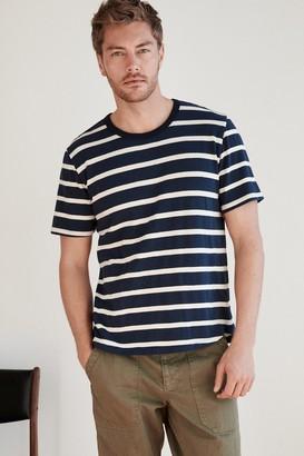 Velvet by Graham & Spencer Sly Stripe Linen Blend Short Sleeve Tee