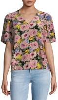 Rebecca Taylor Women's Lavinia Floral Short-Sleeve Silk Top