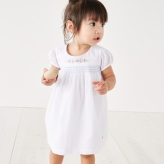 The White Company Flower-Embroidered Smocked Dress, White, 6-9mths