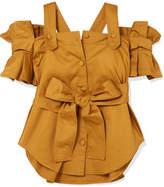 Silvia Tcherassi Giuliani Cold-shoulder Belted Ruffled Cotton-blend Top