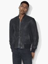 John Varvatos Burnished Suede Varsity Bomber
