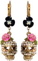 Betsey Johnson Crystal Skull and Flower Drop Earrings