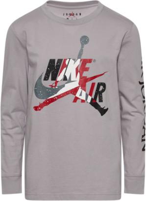 Jordan Jumpman Graphic Long Sleeve T-Shirt - Atmosphere Grey / Black Gym Red