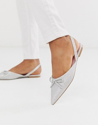 ASOS DESIGN Lefty pointed ballet flats in silver glitter