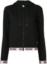 Moschino contrast logo hem zip hoodie - women - Cotton/Spandex/Elastane - L