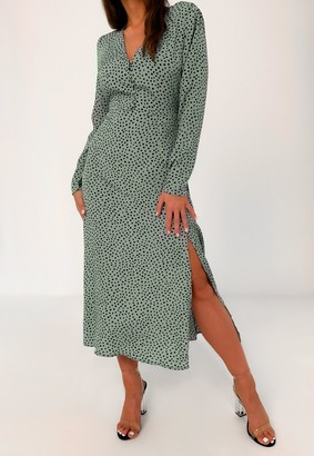 Missguided Tall Green Dalmatian Print Midi Tea Dress